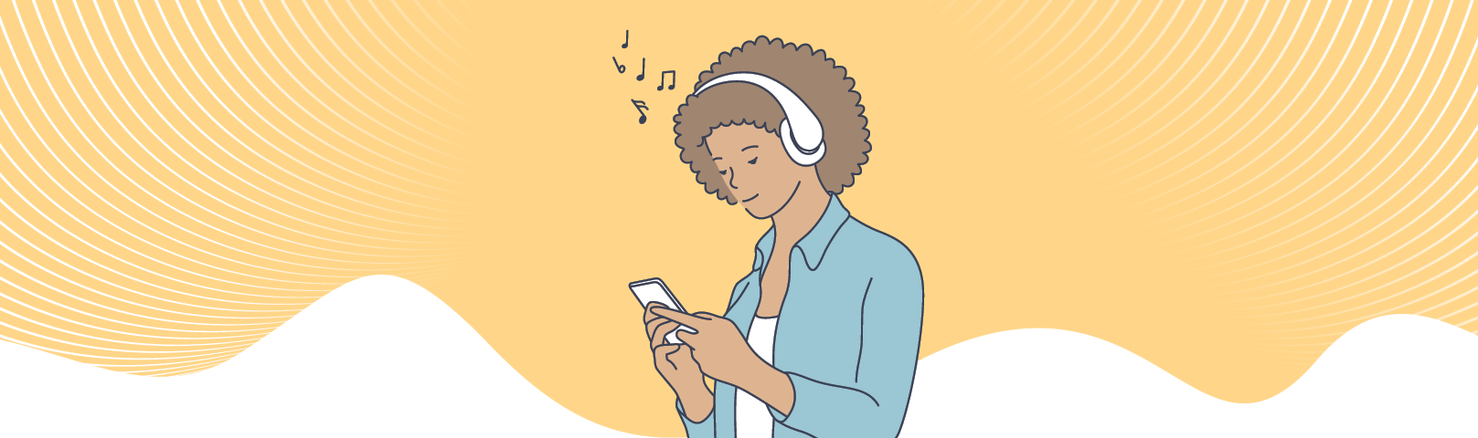 Illustration of young African American woman listening to music on her headphones while looking at her smartphone