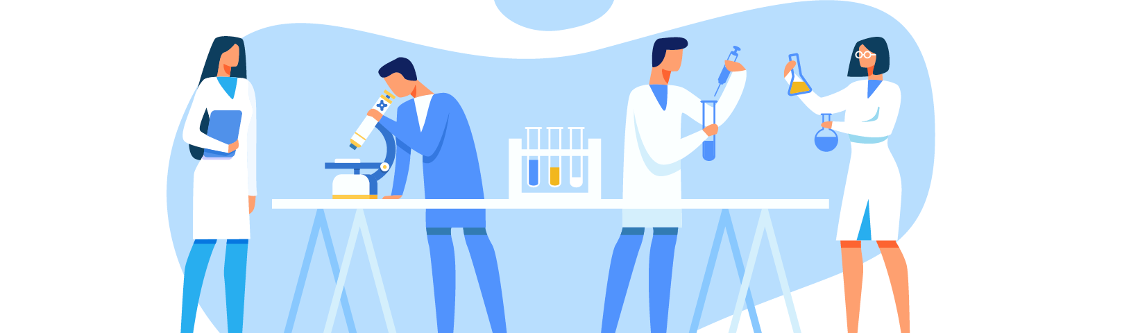 Illustrations of scientists in white coats checking beakers full of fluid